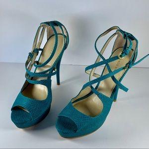 Turquoise Snake Print double Strap Stiletto